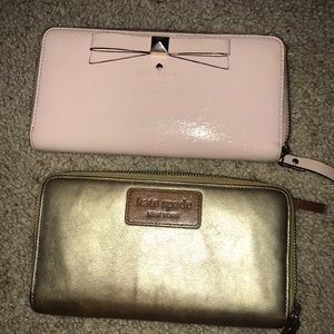 KATE SPADE ♠️ wallets,pink patent and brown gold!